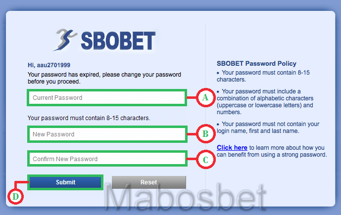 Halaman ganti password Sbobet
