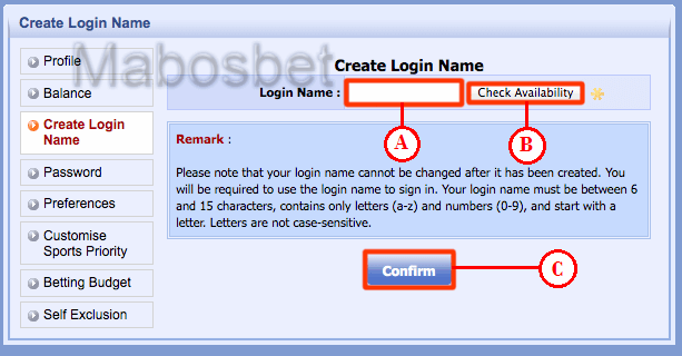 Halaman membuat Login Name Sbobet