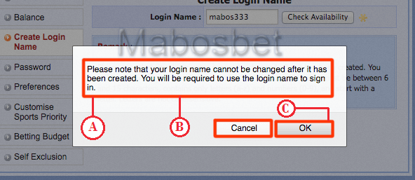 Pop up konfimasi Login Name Sbobet